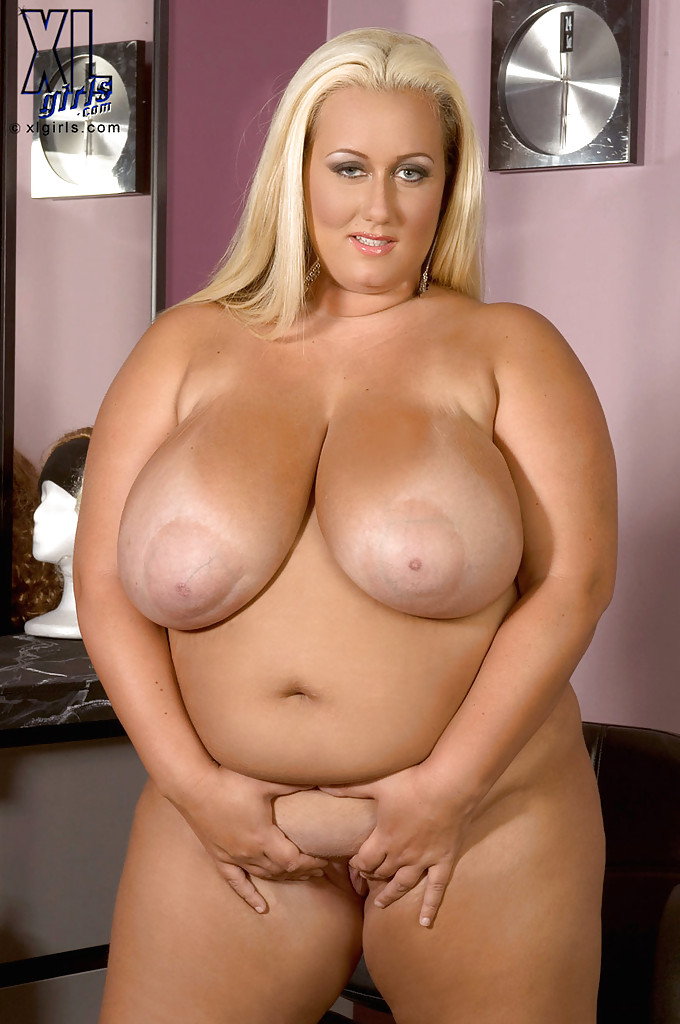 Busty bbw blond Rose Valentina squeezing her massive tits ...