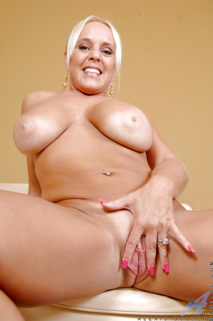 mature plumper alexis golden fondling big hooters and