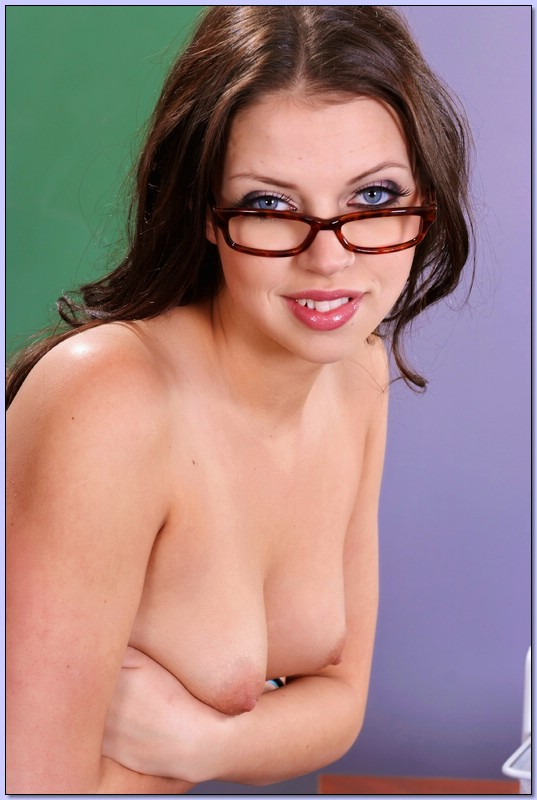 a slutty girl with glasses on nude