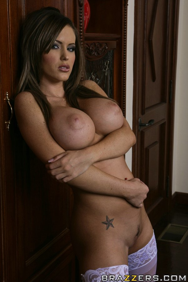 school girl jenna presley strips to her stockings and