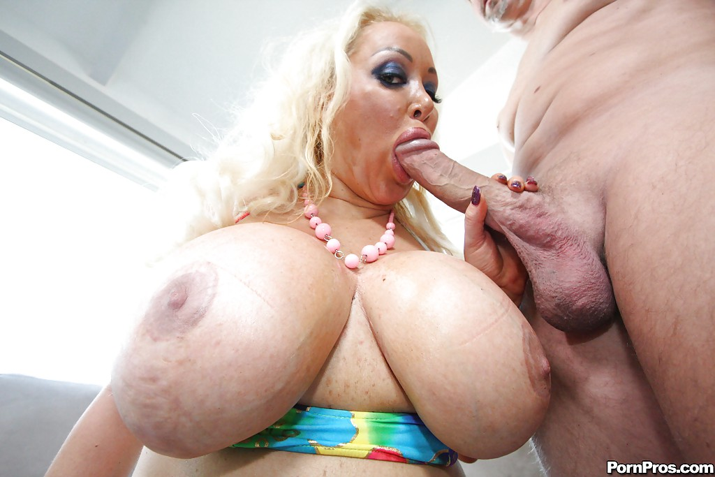 Banged booby gets mature strip