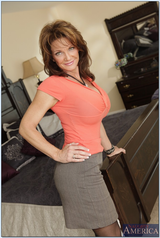 Naughty MILF with shapely boobs Deauxma takes off underwear  344546