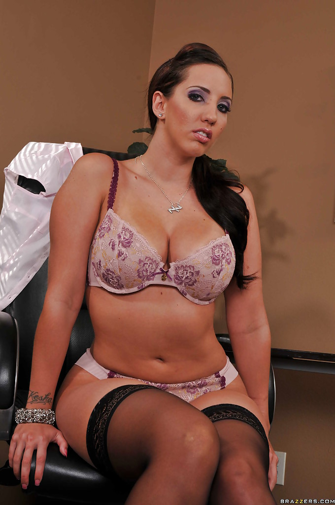 image Divine secretary in lingerie and stockings seduces her boss