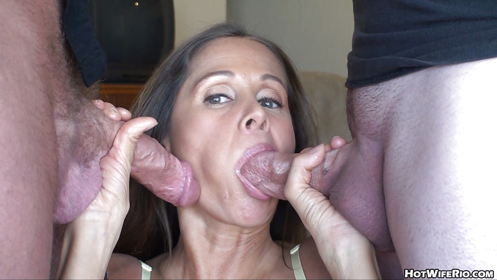 Skinny Brunette Two Cocks