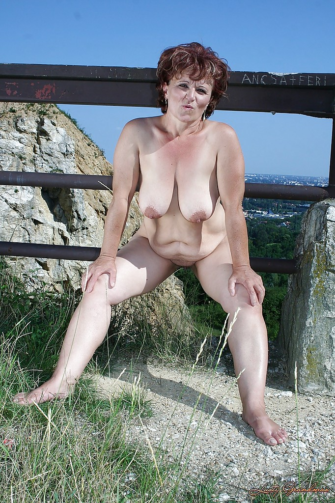 Vintage outdoor nude grannies