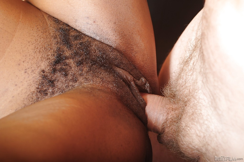 Pink black hairy pussy