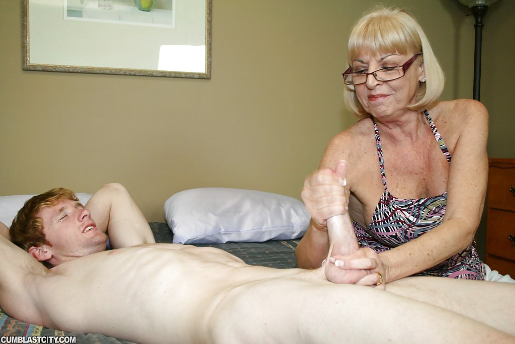 Jerk off on granny s face