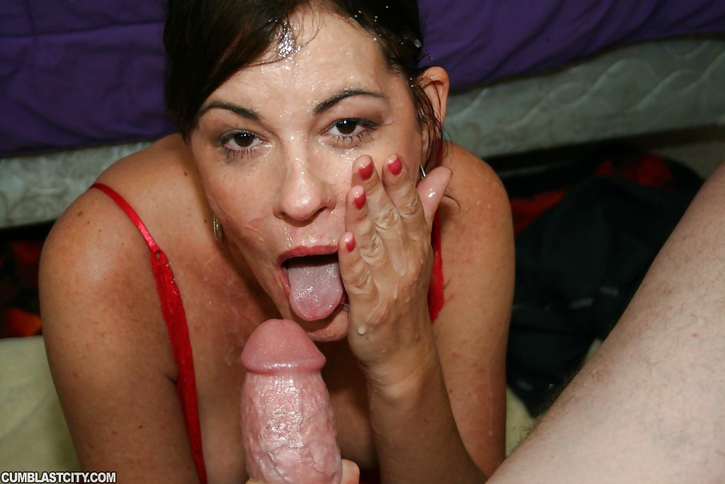 brunette facial Amateur cum