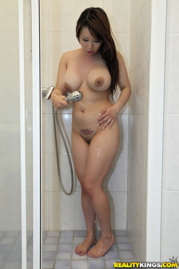 Big tits asian shower