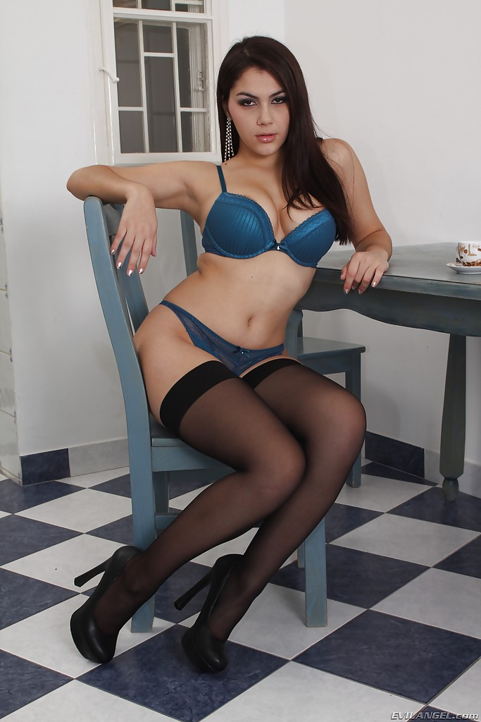 Voluptuous babe in stockings Valentina Nappi slipping off ...