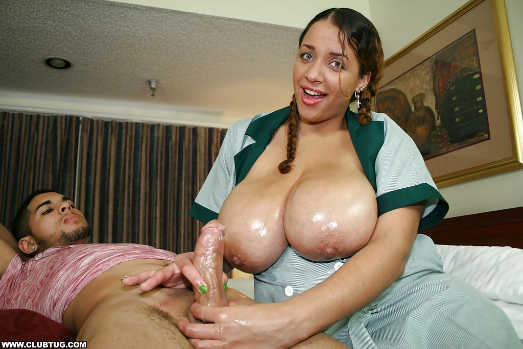 chubby latina slut gives a handjob and takes a cumshot on