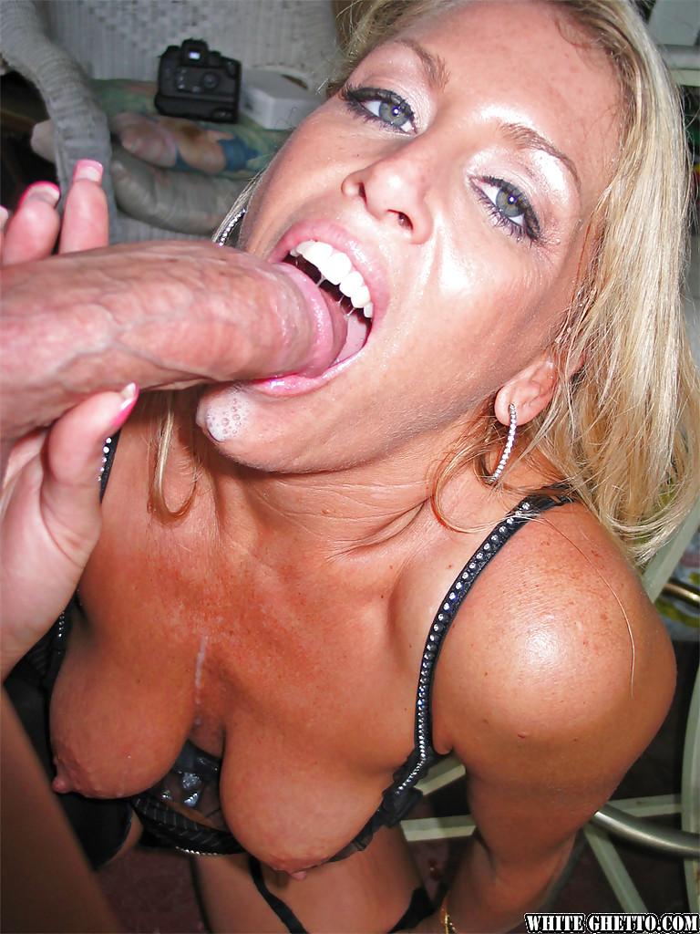 Blonde sucks huge dick