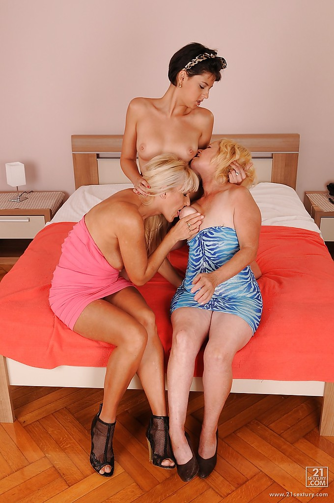image Lesbian grannies kissing and licking each other