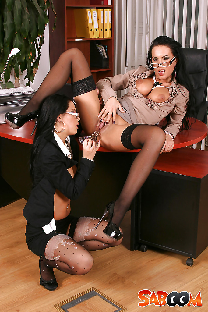 Office lesbian ladies strap on fucking in ny