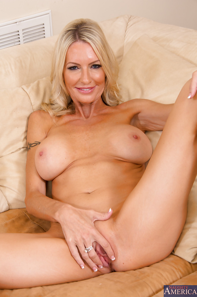 Hot blonde milf spread legs