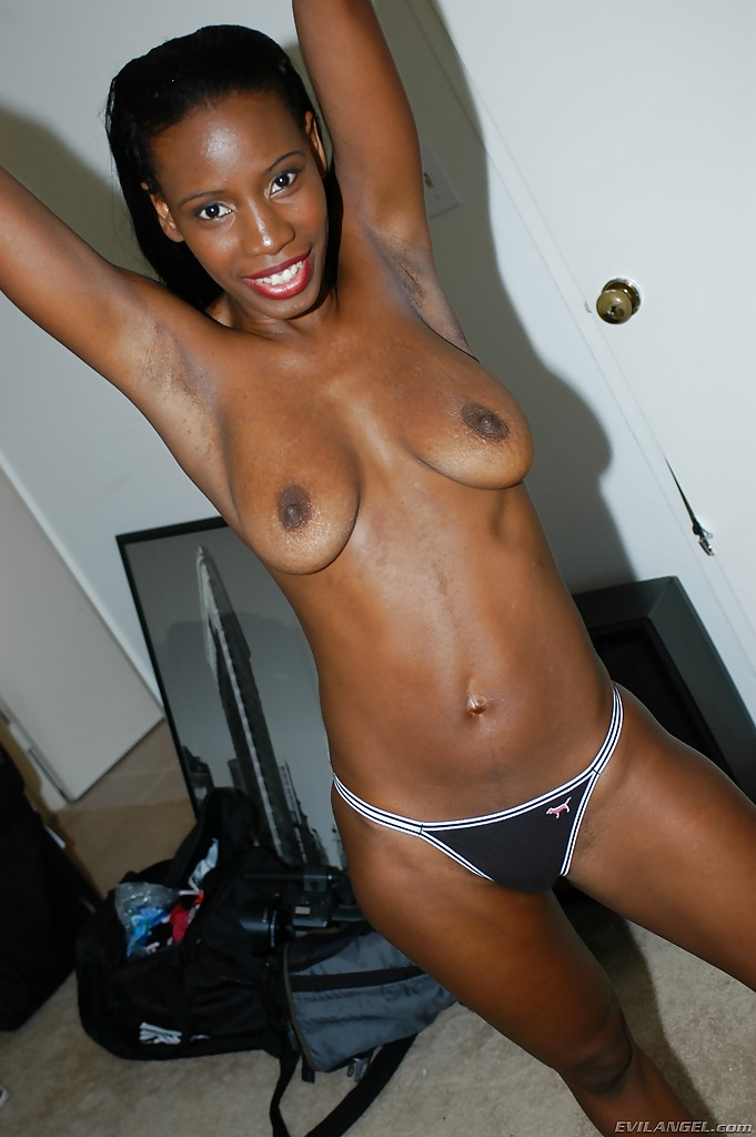 Ebony black cougar in lingerie