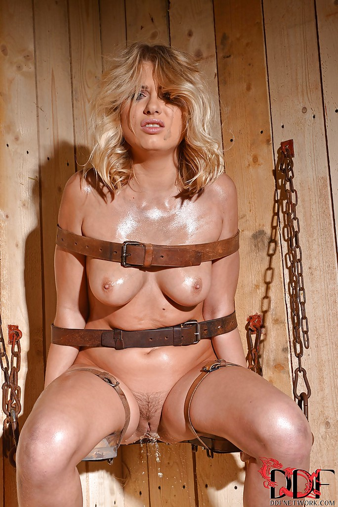 Big tits blonde bound and gagged for a spanking session by her master 5
