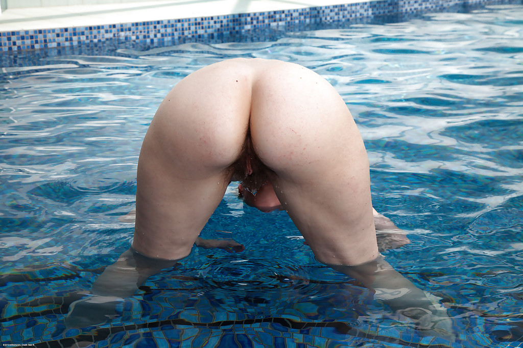Serious? Mature hairy pussy by the pool