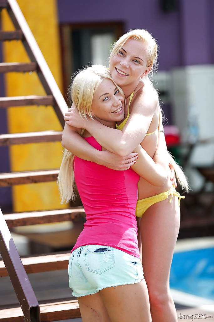Blonde teen Angie Koks and girlfriend give massage in threesome  1068821