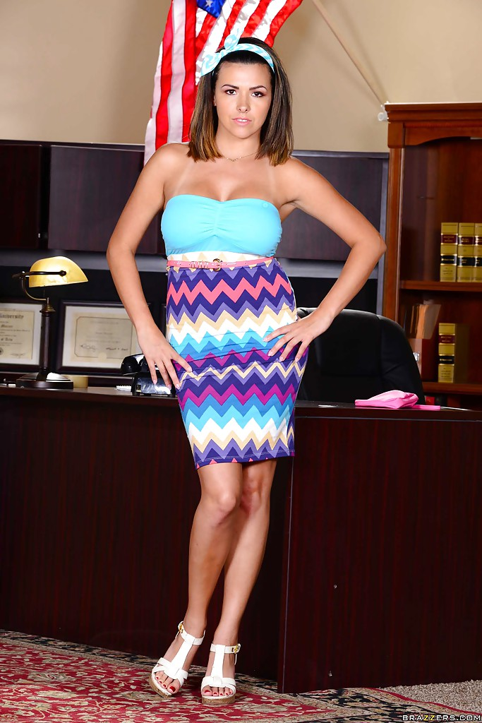 Chesty office worker Danica Dillon letting large all natural juggs loose  388625