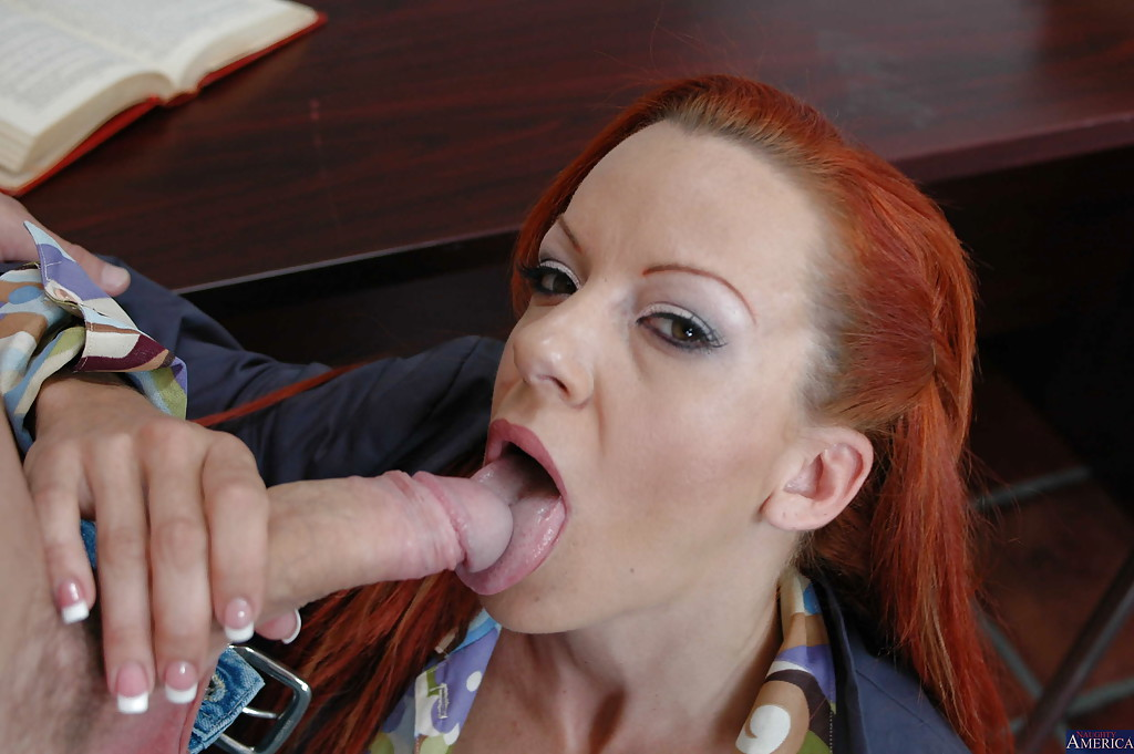 redhead milf shannon sucking her student s dick and eats