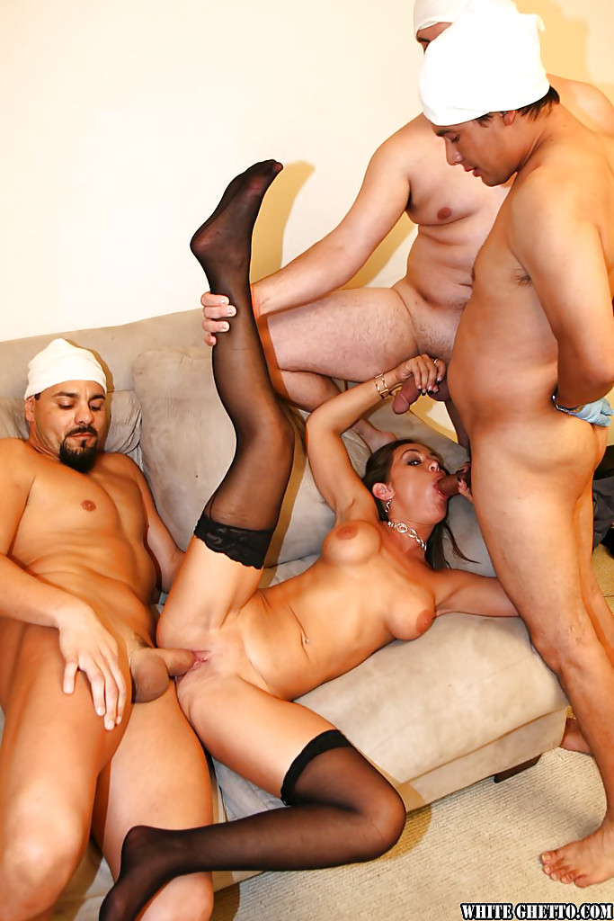 Gangbang in stockings