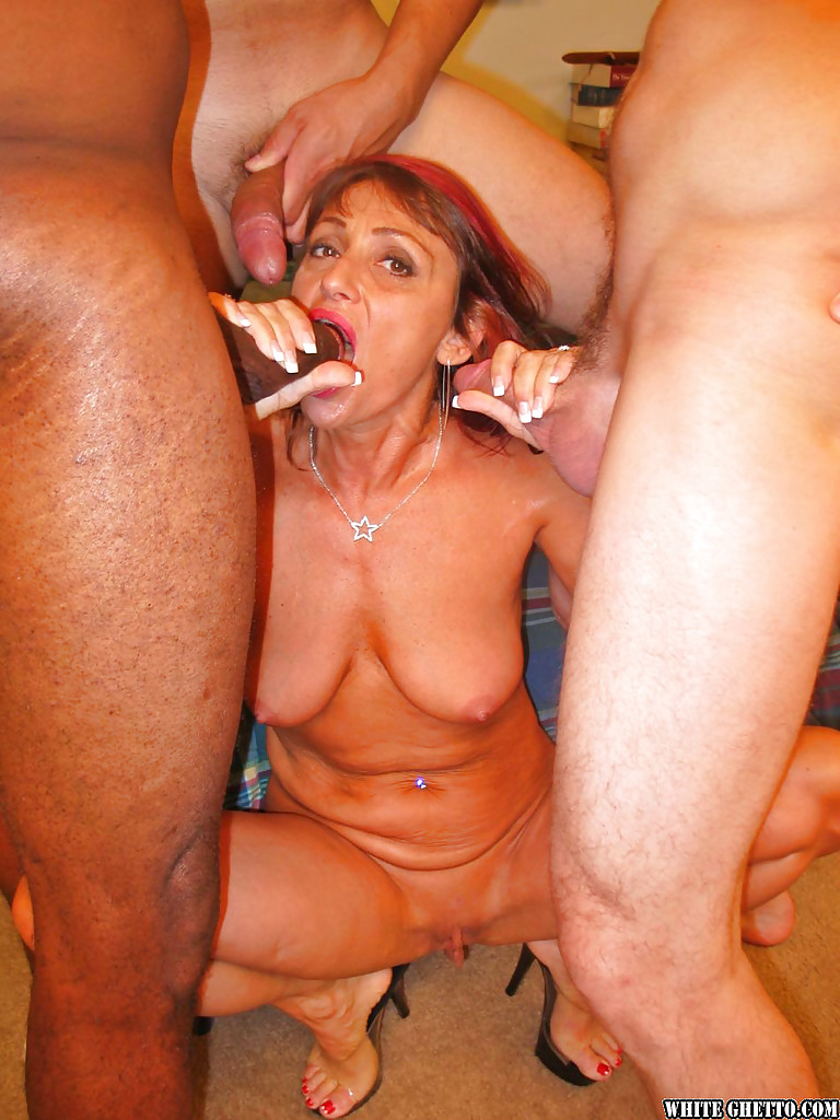 Mature interracial group sex