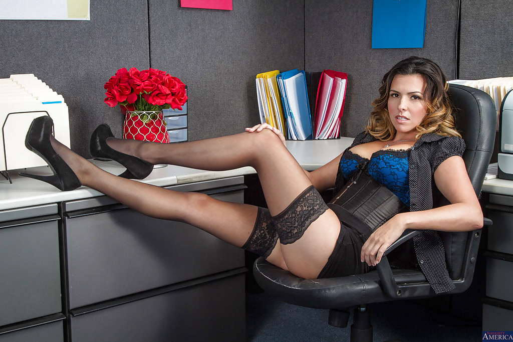Chesty office worker Danica Dillon letting large all natural juggs loose  388599