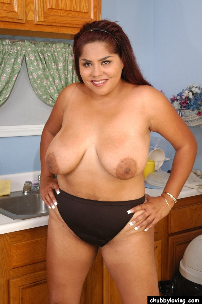 Naked mexican girl in the kitchen well