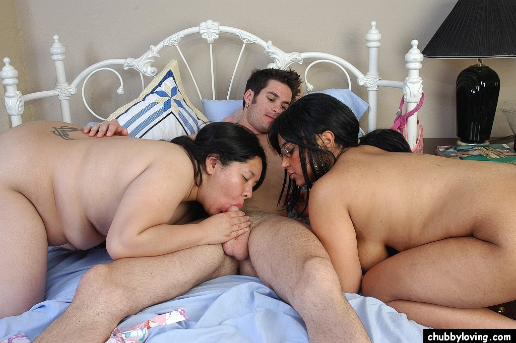 Kissing and asian threesome chubby