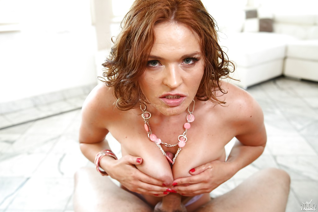 redhead slut krissy lynn sucking cock and ball licking in