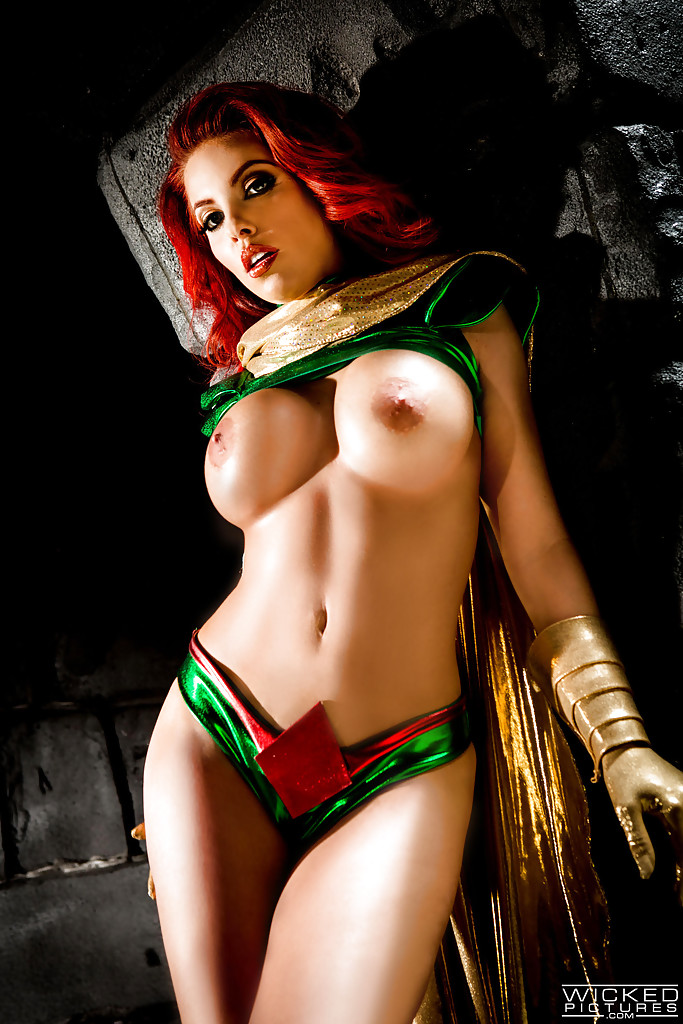 busty redhead britney amber modeling topless in cosplay