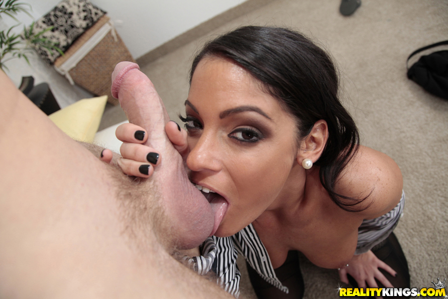 image Brunette wife ball licking with cum on ass