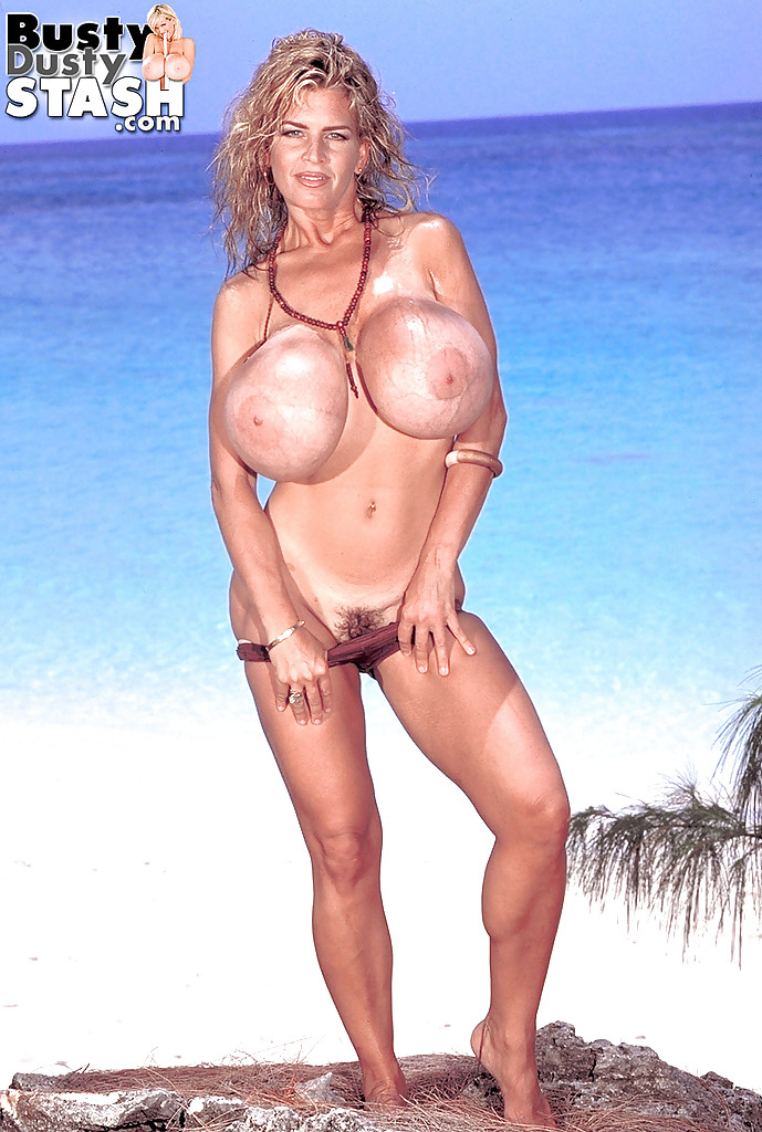 Busty mature blondes on the beach