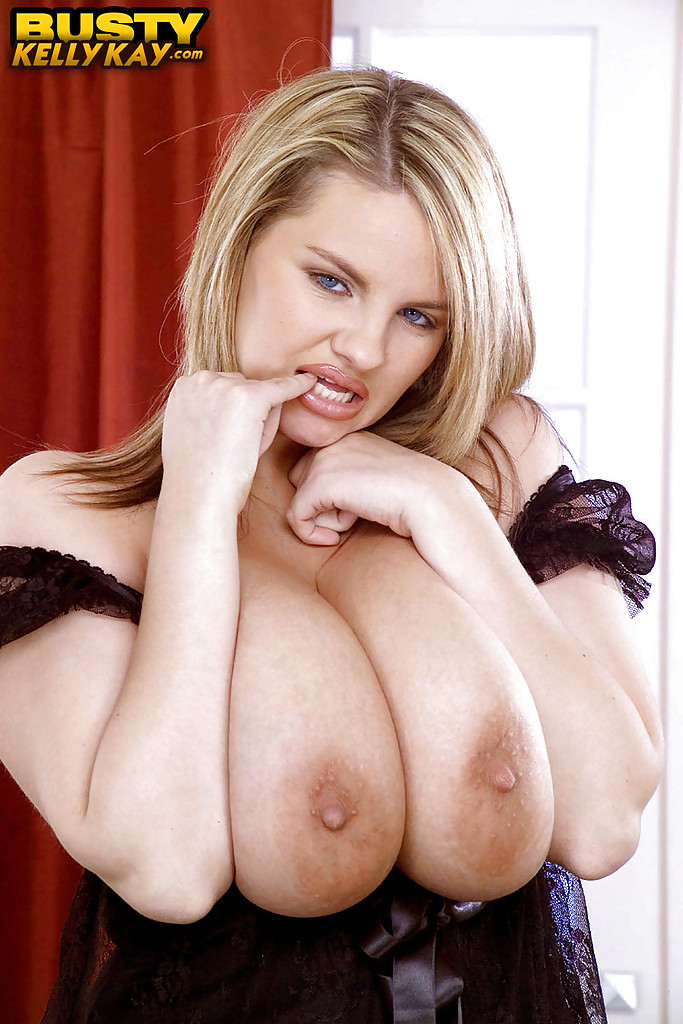 Chubby blonde pornstar Kelly Kay showing off huge saggy ...