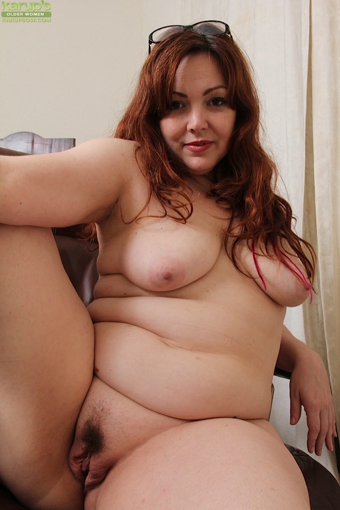 with pussy Bbw mature glasses hairy