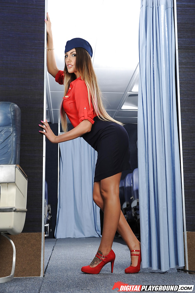 Pornstar Eva Lovia spreads legs for big cock fucking in stewardess uniform № 1285693  скачать