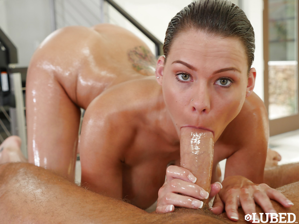 busty girl peta jensen oiling up before giving big dick