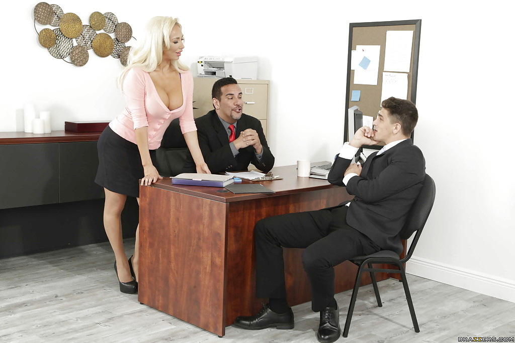 Busty blonde secretary Olivia Austin takes cumshot in mouth in office  470970