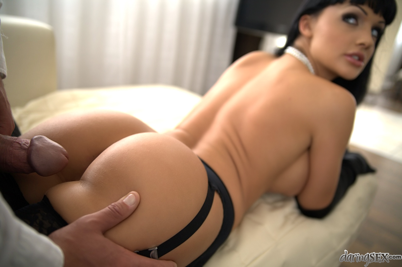 Dark haired stocking and long glove adorned pornstar ...