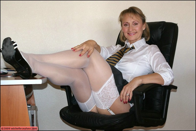 Mature office pantyhose for that