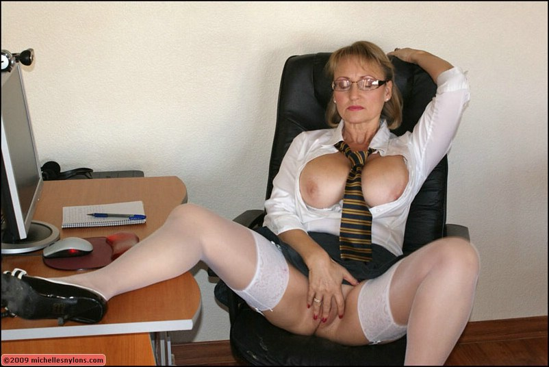 Busty office masturbating