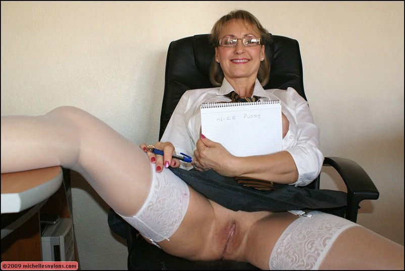 Mature office nylons