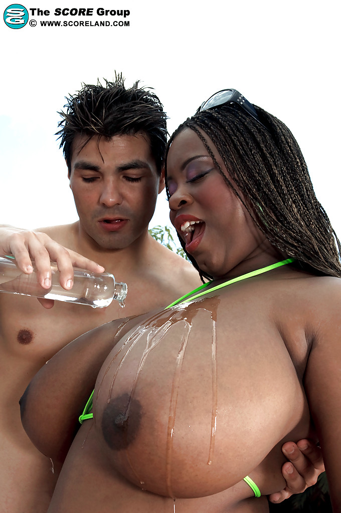 bbw breast black - ... Busty black bbw Mianna Thomas gets her boobs oiled up for smooth titjob  ...