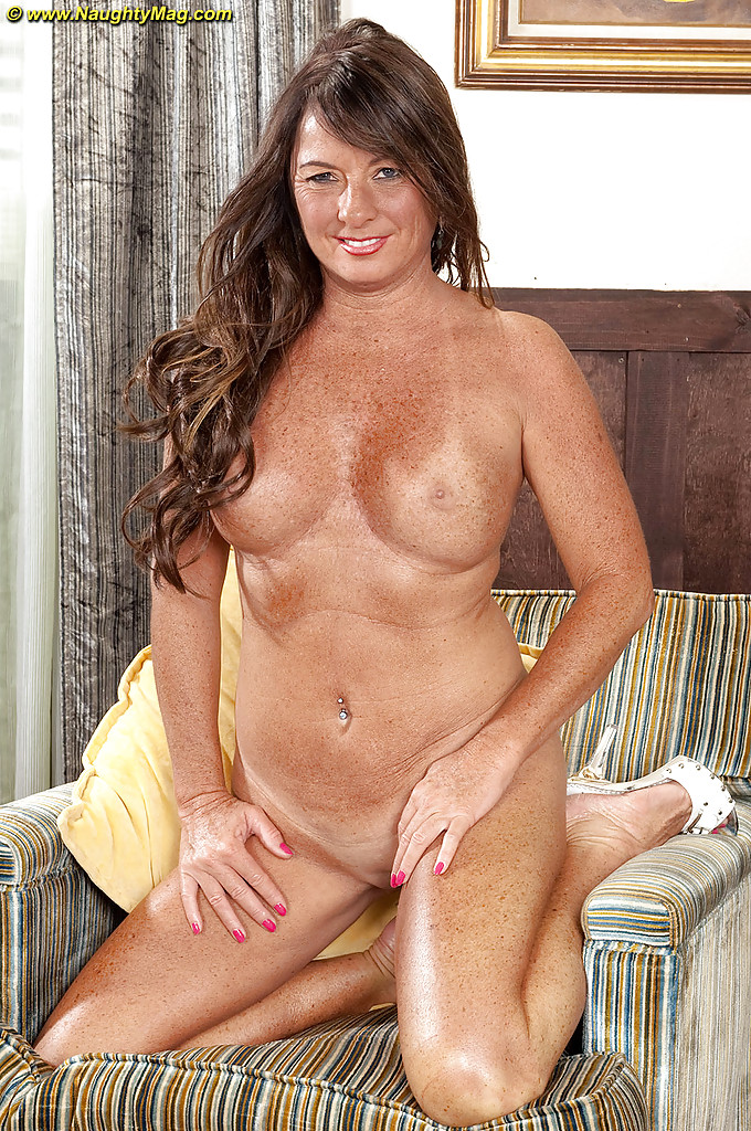 Mature freckled brunette tits