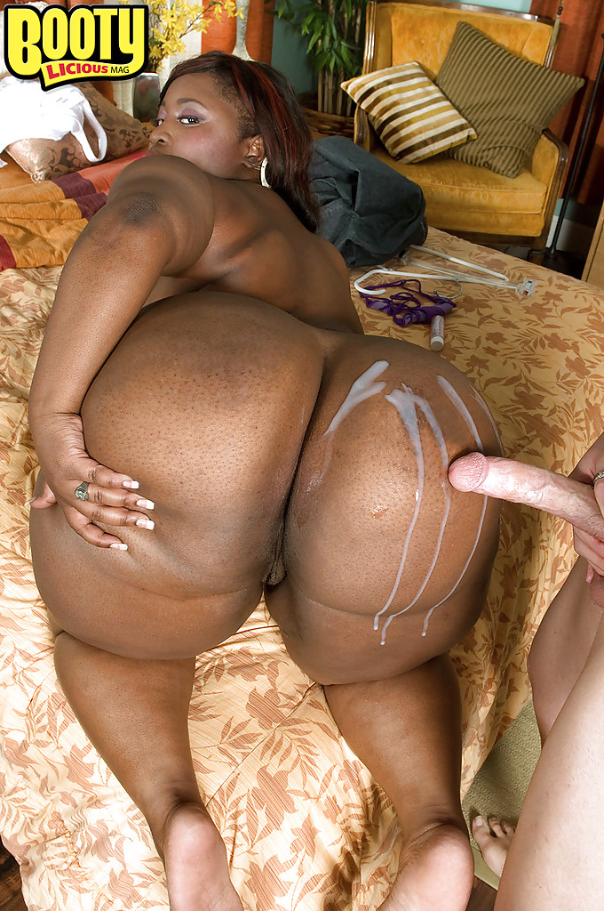 ... Black bbw girl Mz Booty stripped from tight jeans and gets cum on her  fat ass ...