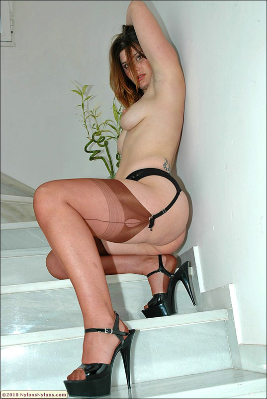 Classy blonde fatty loves posing on the stairs and showing her sexy chubby legs in