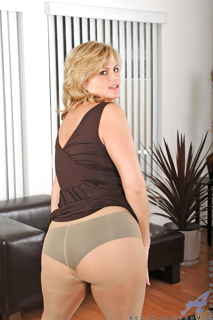 ... Busty MILF Becca Blossoms stripping from pantyhose and panties to  please her cunt ...