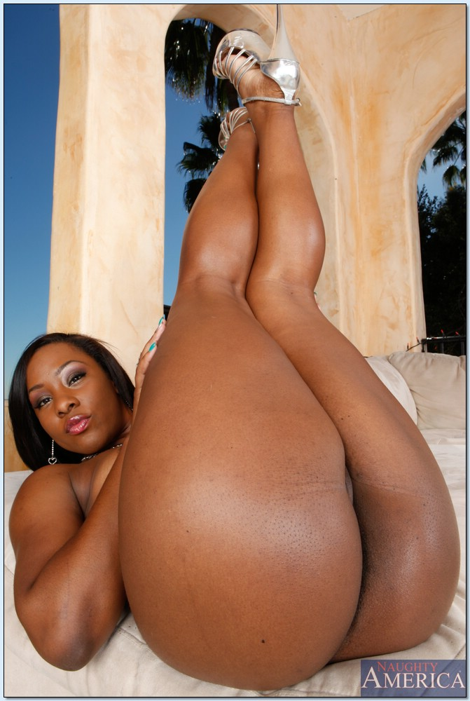 ... Stunning ebony babe Ms. Platinum exposing pussy and fat black butt ...