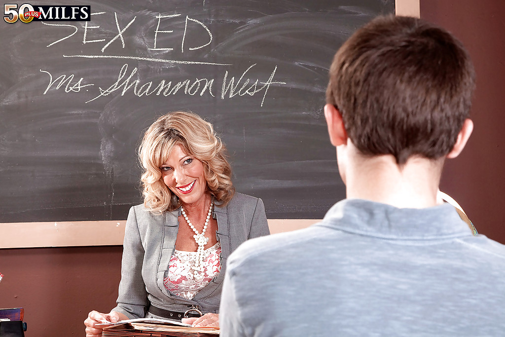 Mature shannon west Analpics 2011 03 28 Mature Teacher In Red Lacy Lingerie Shannon West Gets Off With Student On Toppixxx Com